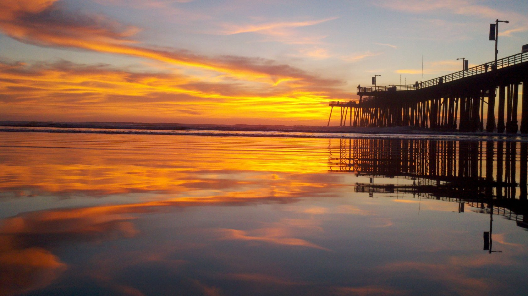 Gorgeous reflection of sunset Pismo Beach pier